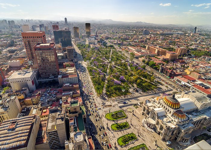 Mexico Greeting Card featuring the photograph Mexico City Aerial View by Jess Kraft