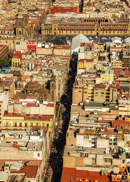Mexico Greeting Card featuring the photograph Mexico City Cathedral And Zocalo by Jess Kraft