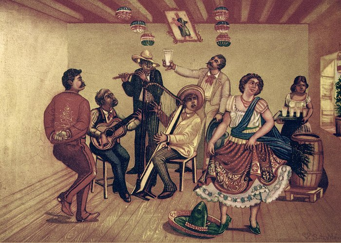 20th Century Greeting Card featuring the photograph Mexico: Hat Dance by Granger