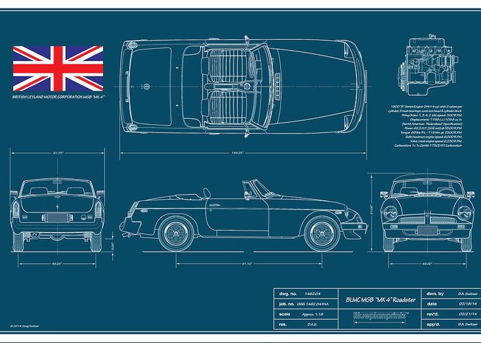 Car blueprint art fine art america car blueprint greeting cards malvernweather Images