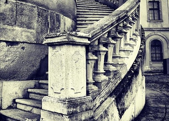 Lonely Greeting Card featuring the photograph #mgmarts #architecture #castle #steps by Marianna Mills