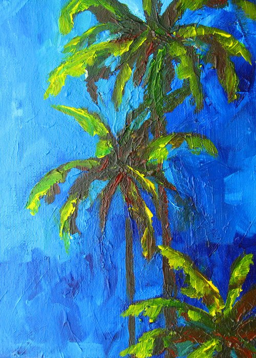 Art Greeting Card featuring the painting Miami Beach Palm Trees In A Blue Sky by Patricia Awapara