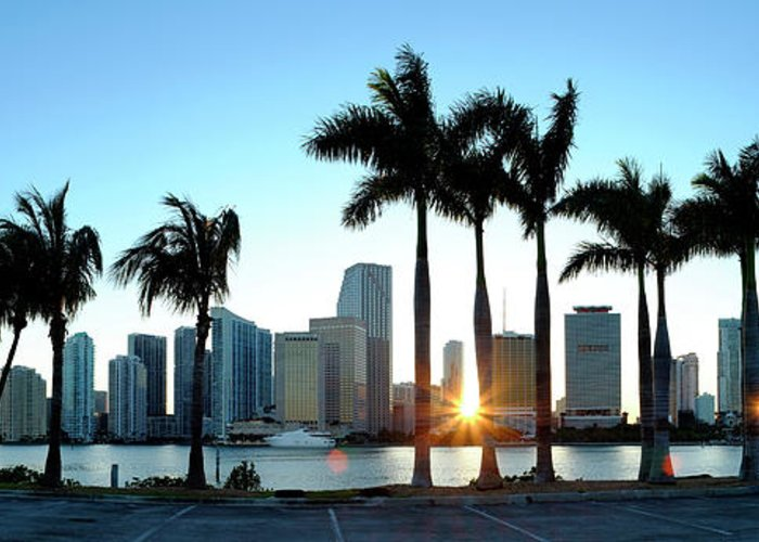 Downtown District Greeting Card featuring the photograph Miami Skyline Viewed Over Marina by Travelpix Ltd