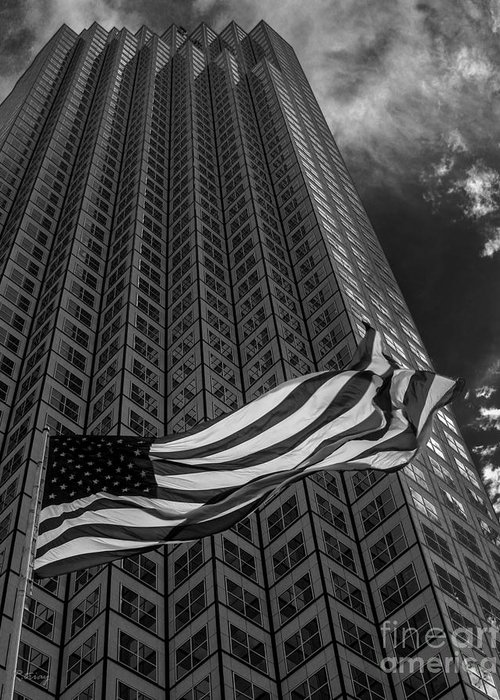 American Flag Greeting Card featuring the photograph Miami Southeast Financial Center by Rene Triay Photography