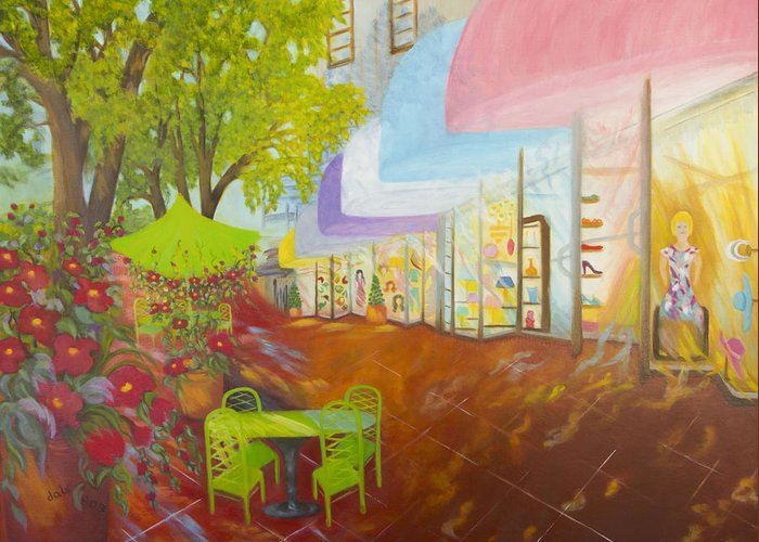 Store Fronts Greeting Card featuring the painting Miami's Coconut Grove Shops by Douglas Ann Slusher
