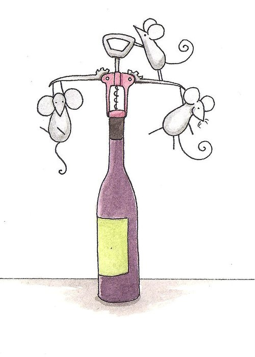 Mice Greeting Card featuring the painting Mice With Wine by Christy Beckwith