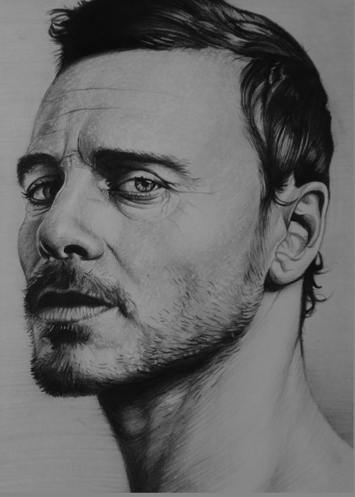Michael Fassbender Prometheus Actor X-men First Class Greeting Card featuring the drawing Michael Fassbender by Steve Hunter