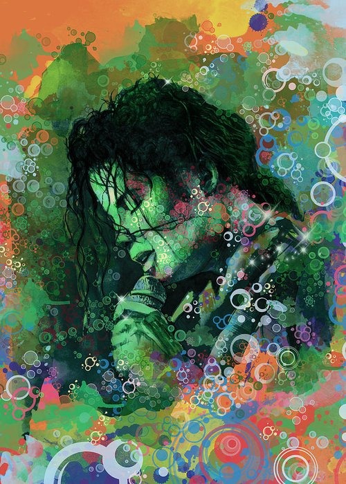 Michael Jackson Greeting Card featuring the painting Michael Jackson 15 by Bekim M