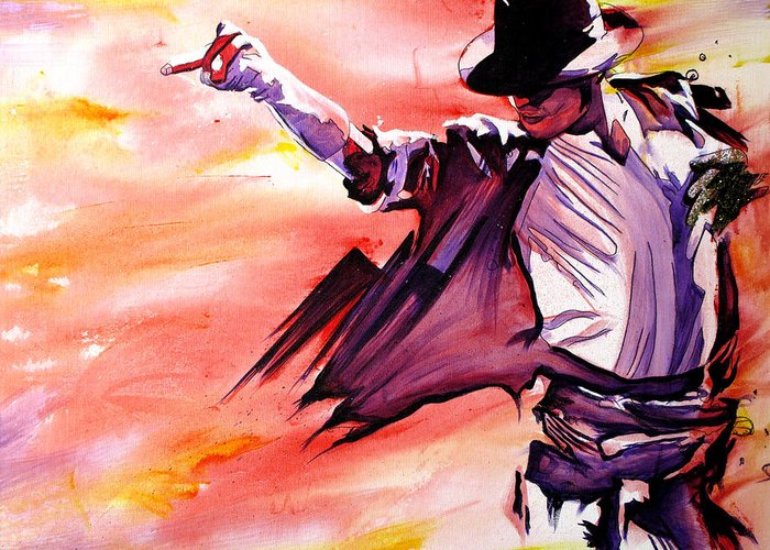 Michael Jackson Greeting Card featuring the painting Michael Jackson-billie Jean by Joshua Morton