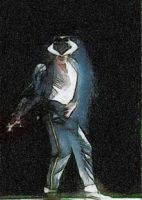 Michael Jackson Greeting Card featuring the painting Michael Jackson by Georgi Dimitrov