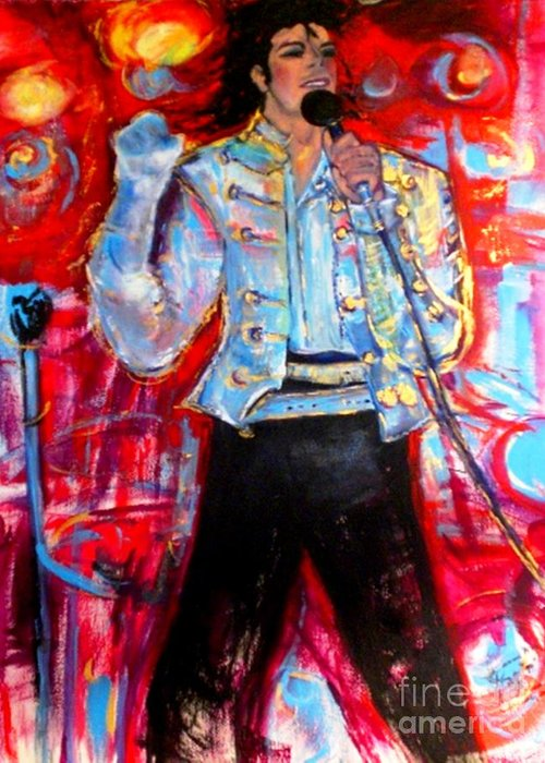 Michael Jackson Greeting Card featuring the painting Michael Jackson I'll Be There by Helena Bebirian