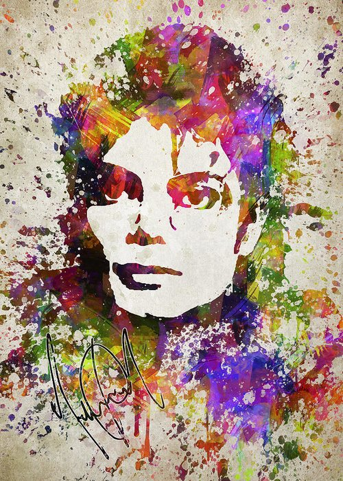 Michael Jackson Greeting Card featuring the digital art Michael Jackson in Color by Aged Pixel