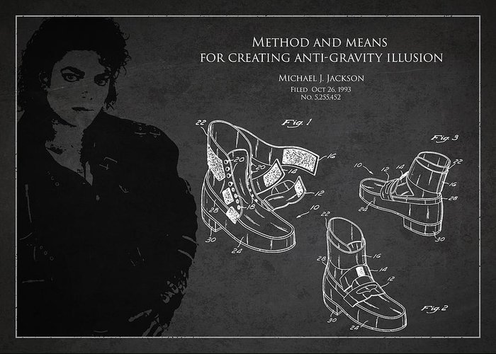Michael Jackson Greeting Card featuring the digital art Michael Jackson Patent by Aged Pixel