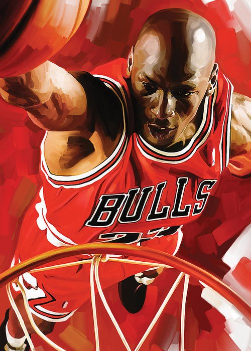 Nba Greeting Card featuring the painting Michael Jordan Artwork 3 by Sheraz A