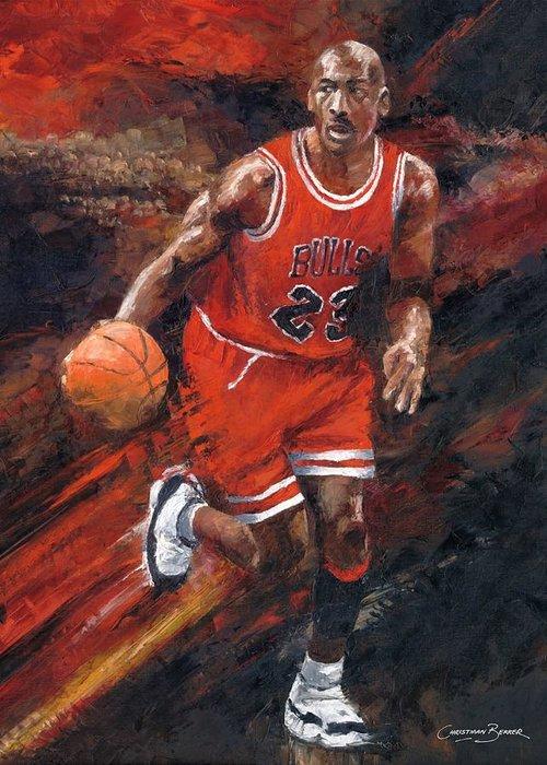 online retailer d0226 0315a Basketball Greeting Card featuring the painting Michael Jordan Chicago Bulls  Basketball Legend by Christiaan Bekker