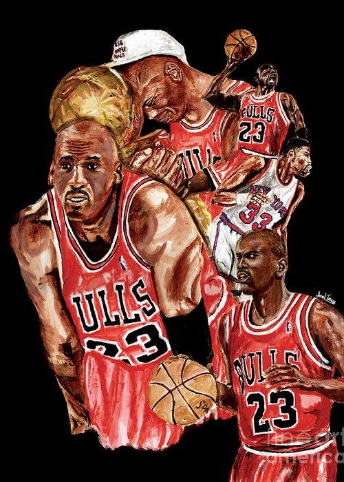 Michael Jordan Greeting Card featuring the painting Michael Jordan by Israel Torres