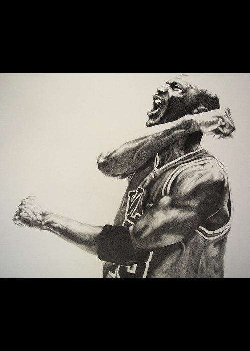 Michael Greeting Card featuring the drawing Michael Jordan by Jake Stapleton