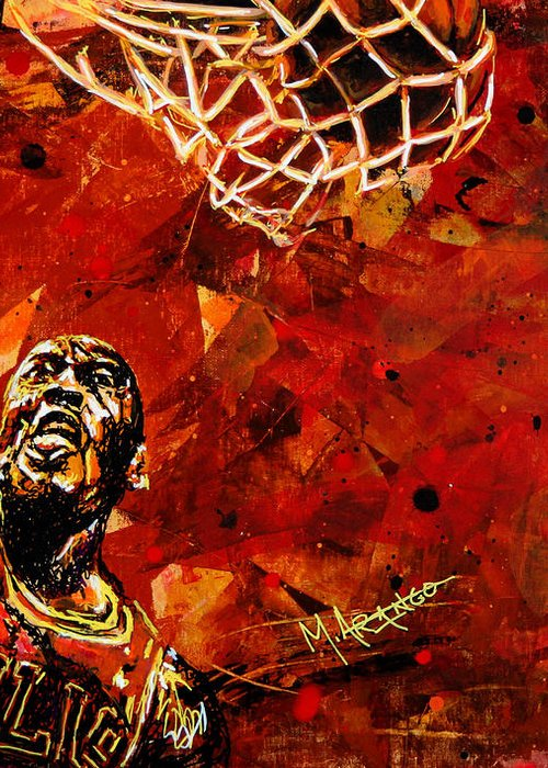 Michael Jordan Greeting Card featuring the painting Michael Jordan by Maria Arango
