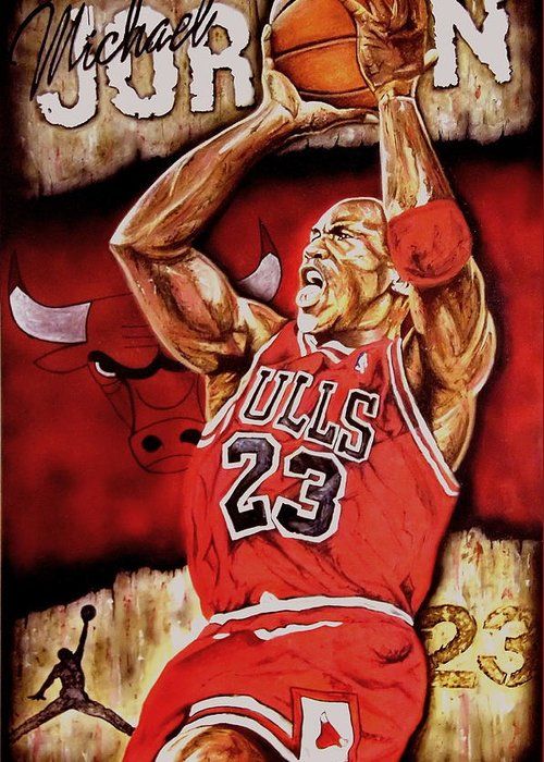 Michael Jordan Greeting Card featuring the painting Michael Jordan Oil Painting by Dan Troyer