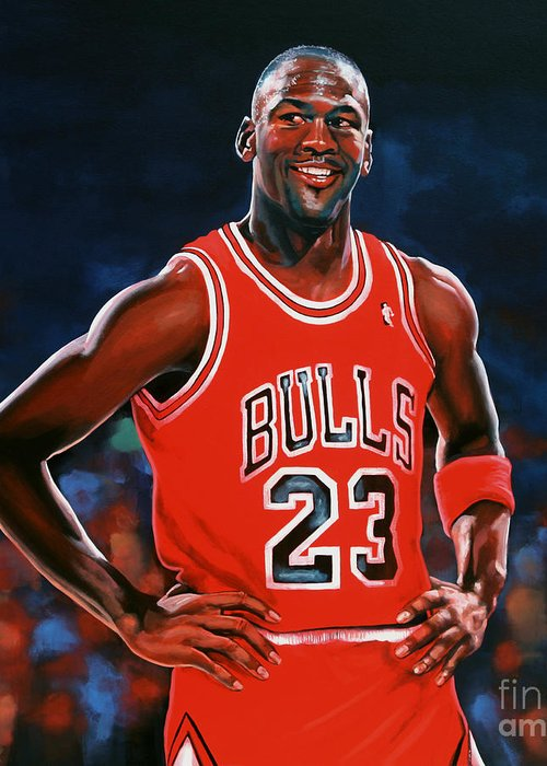 Michael Jordan Greeting Card featuring the painting Michael Jordan by Paul Meijering