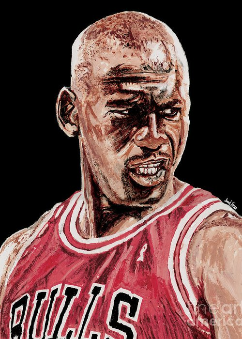 Michael Jordan Greeting Card featuring the painting Michael Jordan The Intimidator by Israel Torres