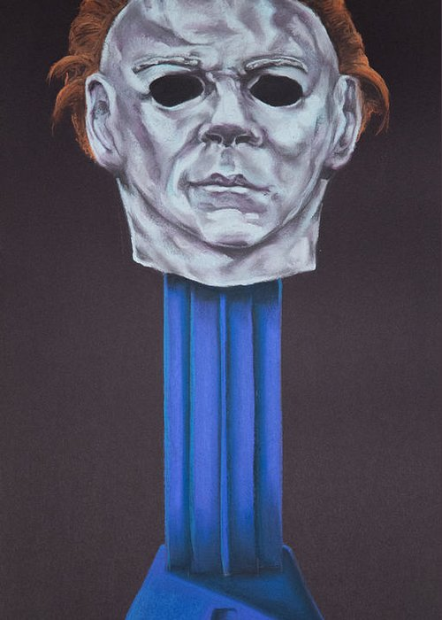 Michael Myers Greeting Card featuring the pastel Michael Myers by Brent Andrew Doty