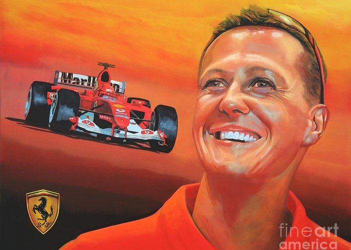 Michael Schumacher Greeting Card featuring the painting Michael Schumacher 2 by Paul Meijering