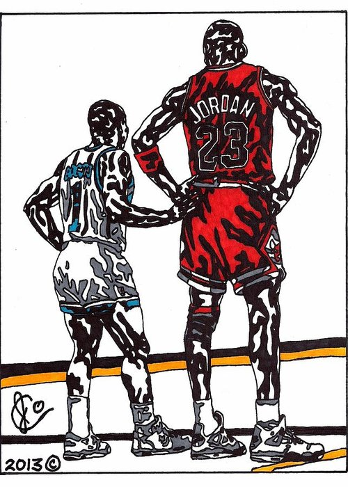 American Basketball Greeting Card featuring the drawing Micheal Jordan 1 by Jeremiah Colley