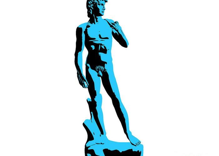 Michelangelo Greeting Card featuring the sculpture Michelangelos David - Stencil Style by Pixel Chimp