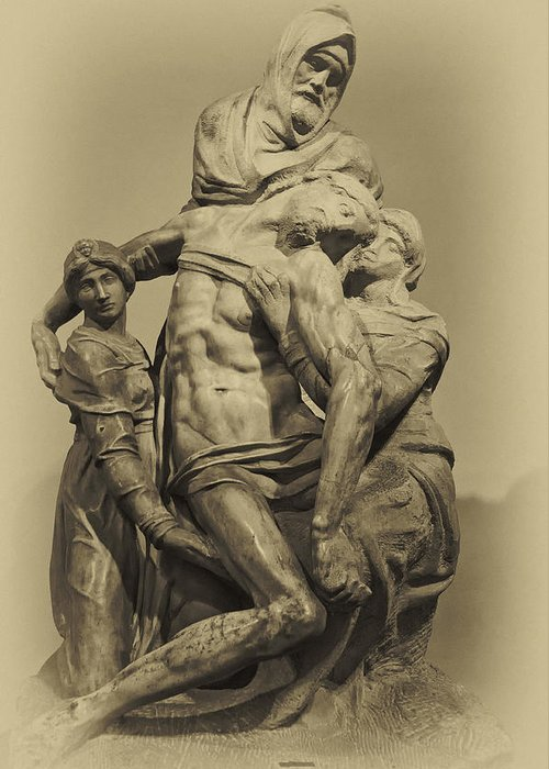 Architecture Art Greeting Card featuring the photograph Michelangelo's Florence Pieta by Melany Sarafis