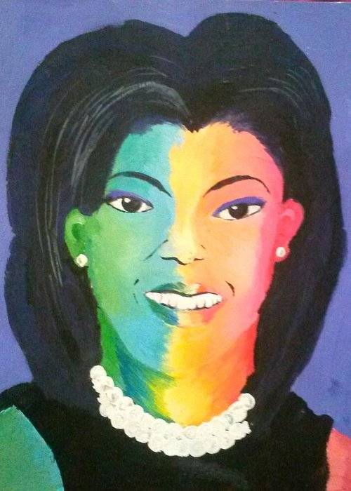 Michelle Obama Greeting Card featuring the painting Michelle Obama Color Effect by Kendya Battle