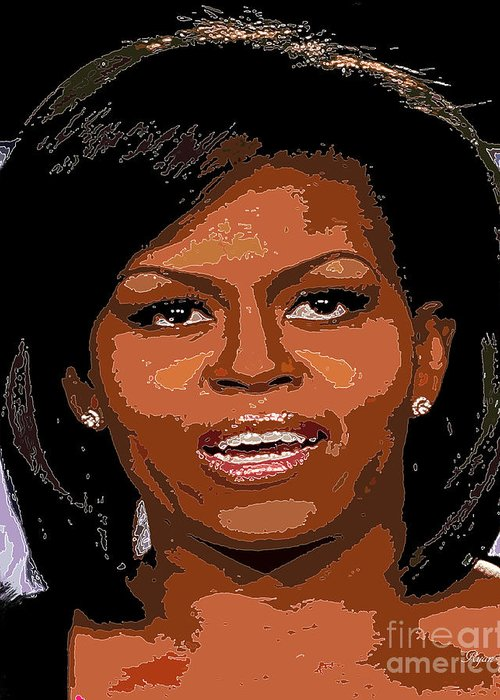 Star Greeting Card featuring the digital art Michelle Obama by Dalon Ryan