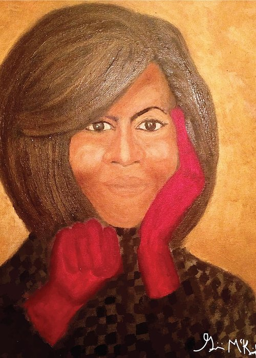 Michelle Obama Greeting Card featuring the painting Michelle Obama by Ginnie McKnight