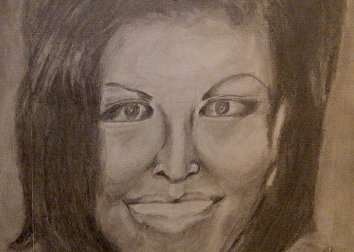 Michelle Obama President First Lady Black Woman History Politics Washington White House Heroin Portrait Ebony Civil Rights Smile Role Image Modern Politics United States Democrat Greeting Card featuring the drawing Michelle Obama by Irving Starr
