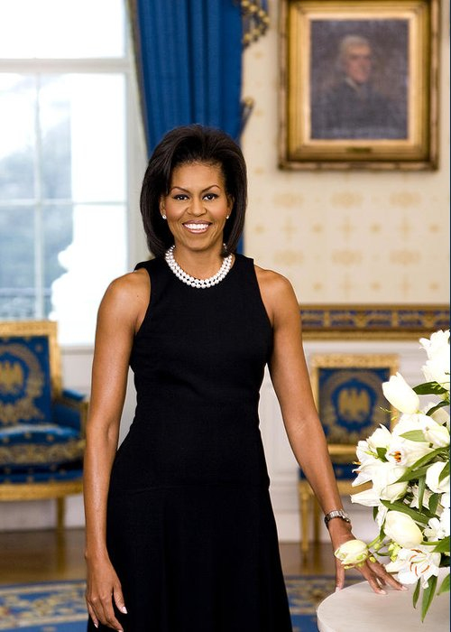 Admiral Greeting Card featuring the digital art Michelle Obama by Official White House Photo