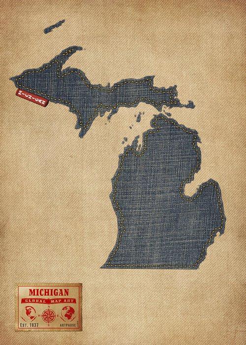 Michigan map greeting cards fine art america michigan map greeting cards m4hsunfo Images
