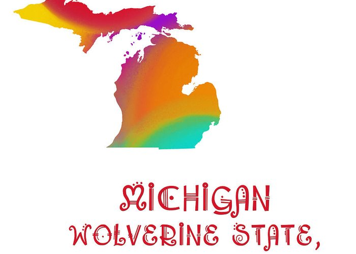 Andee Design Greeting Card featuring the digital art Michigan State Map Collection 2 by Andee Design