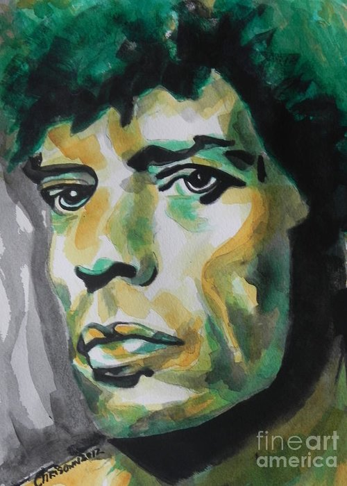 Watercolor Painting Greeting Card featuring the painting Mick Jagger by Chrisann Ellis
