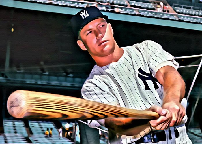Mickey Mantle Portrait Greeting Cards