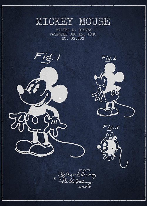 Mickey Mouse Greeting Card featuring the drawing Mickey Mouse Patent Drawing From 1930 by Aged Pixel