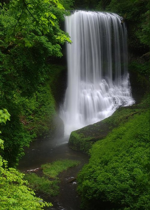 Waterfall Greeting Card featuring the photograph Middle North Falls by Ken Dietz