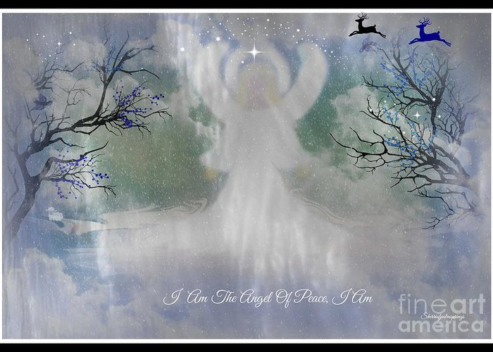 Angel Greeting Card featuring the digital art Midnight Angel Of Peace by Sherri's Of Palm Springs