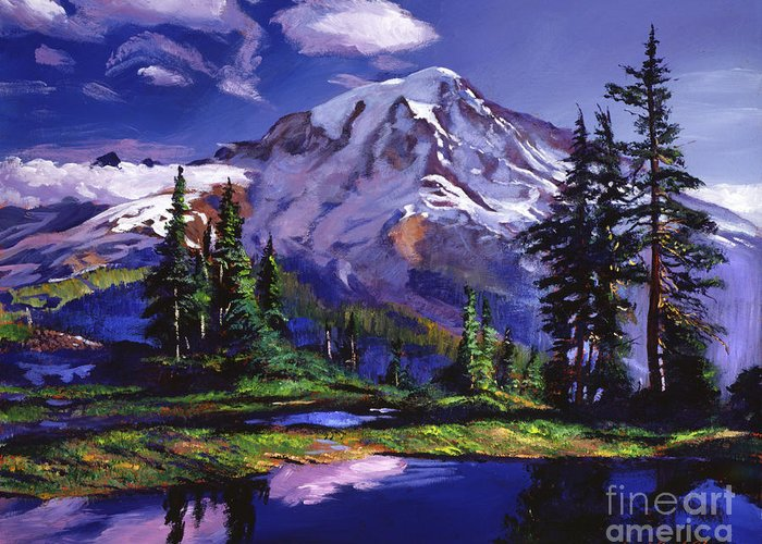 Landscape Greeting Card featuring the painting Midnight Blue Lake by David Lloyd Glover