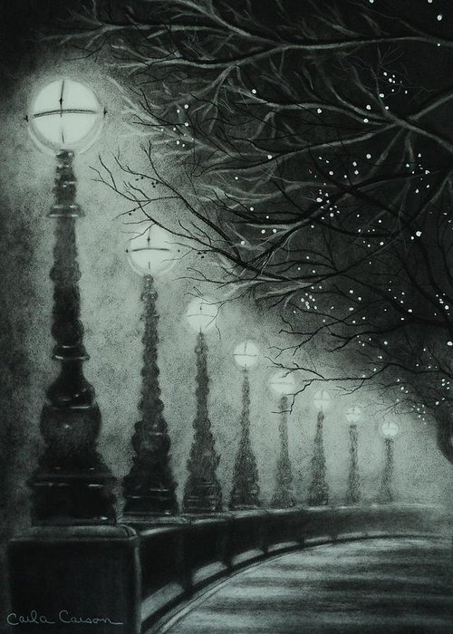 Charcoal Greeting Card featuring the drawing Midnight Dreary by Carla Carson