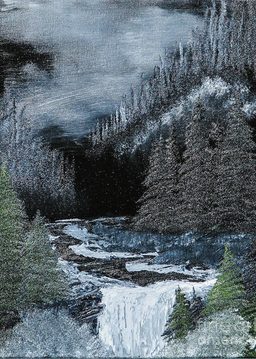 Landscape Greeting Card featuring the painting Midnight Falls by Dave Atkins