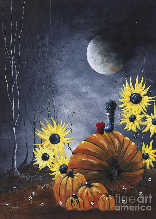 Pumpkins Greeting Card featuring the painting Midnight In The Pumpkin Patch By Shawna Erback by Shawna Erback