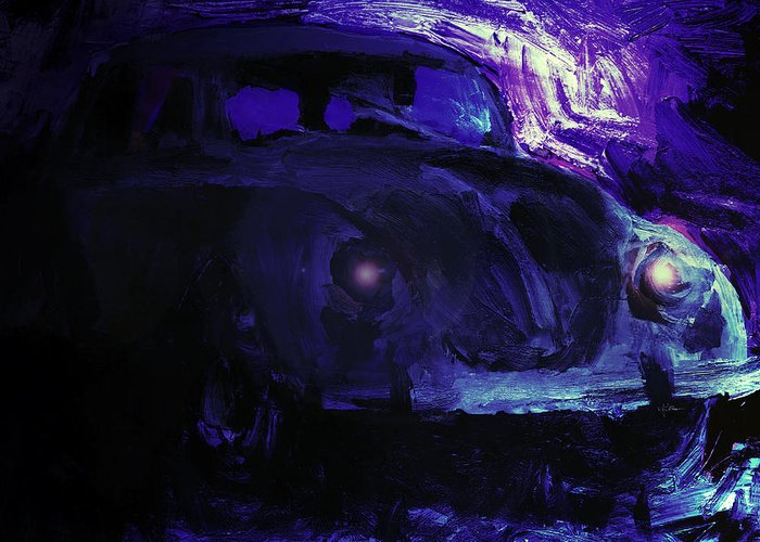 Car Greeting Card featuring the mixed media Midnight by Jim Vance