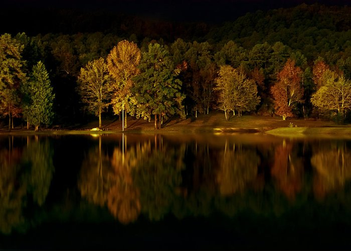 Lake Greeting Card featuring the digital art Midnight On The Lake by Linda Unger