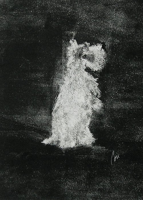 Monotype Greeting Card featuring the mixed media Midnight Sonata by Cori Solomon