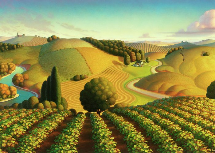 Vineyard Greeting Card featuring the painting Midwest Vineyard by Robin Moline